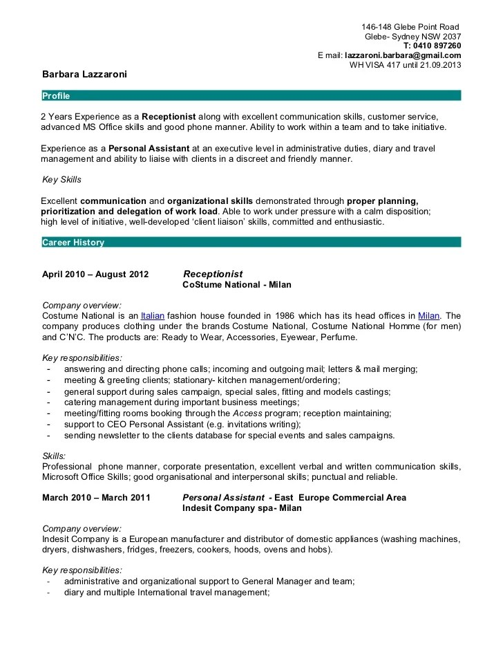 receptionist skills for resumes | Template