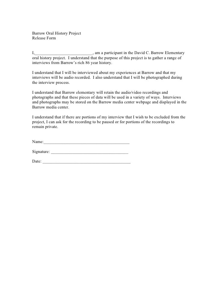 Release Form For Video Interview Case Study Group Discussion