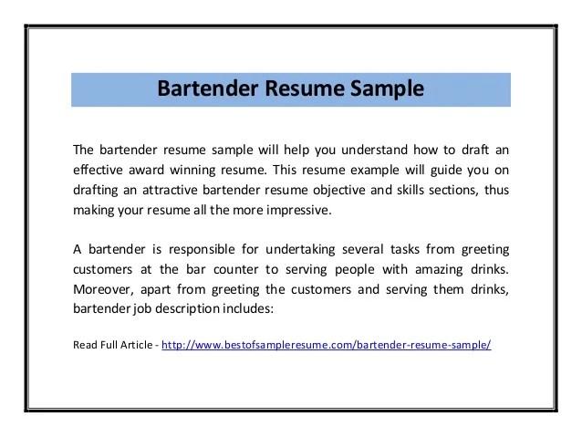 example bartender resume - Jolivibramusic - bartender sample resume
