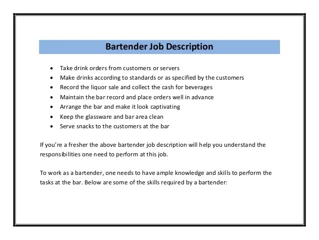 resume job description for bartender
