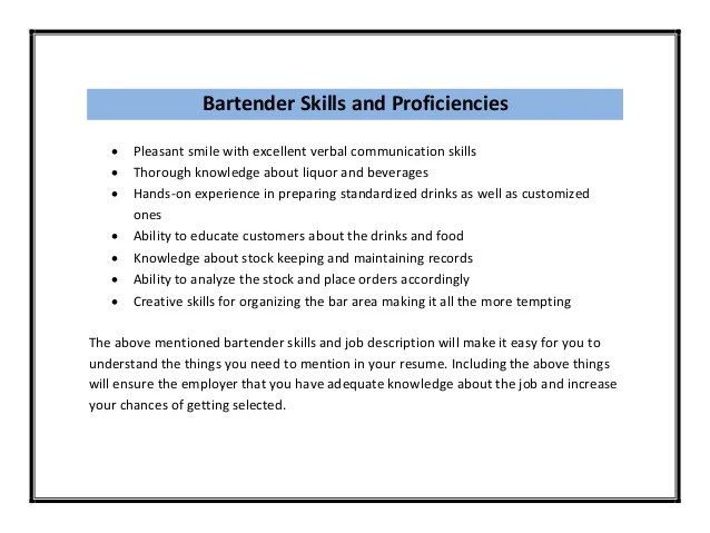 bartender resume description sample