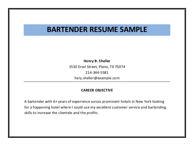 sample bartender resume - Josemulinohouse