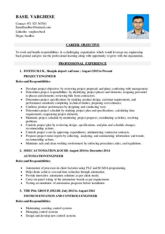 project engineer resume - Intoanysearch - instrumentation and control engineer sample resume