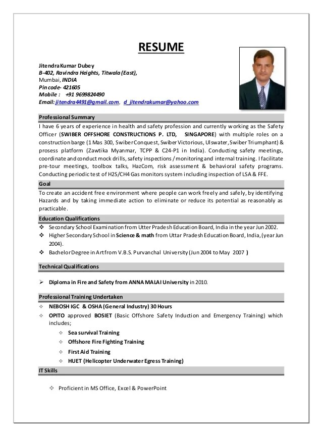 offshore hse officer cv