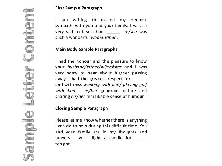 sample of sympathy letter - Pinarkubkireklamowe