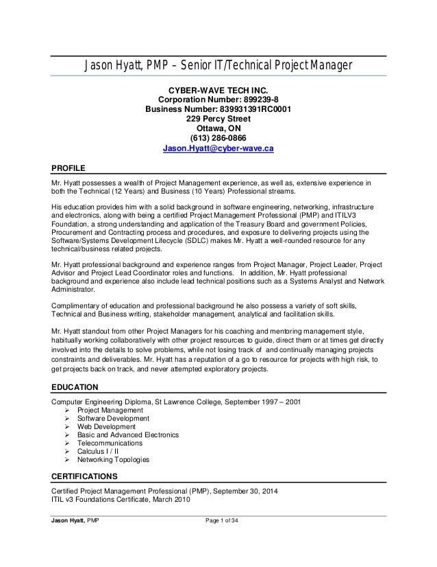 pmp certified project manager resumes - Vatozatozdevelopment - It Project Manager Sample Resume