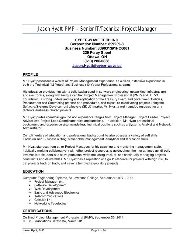 Senior It Manager Resume Example Jason Hyatt Pmp Resume Project Manager 2014 11 27