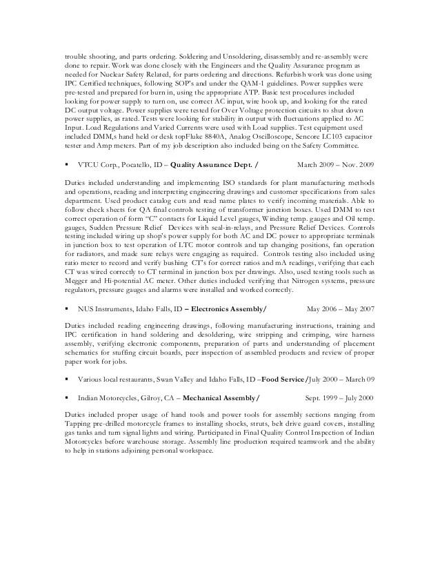 electronic assembler resume sample - Romeolandinez
