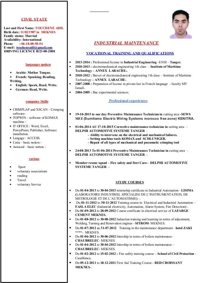 cv modele informatique