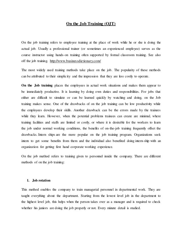 recommendation letter for on the job training - Minimfagency