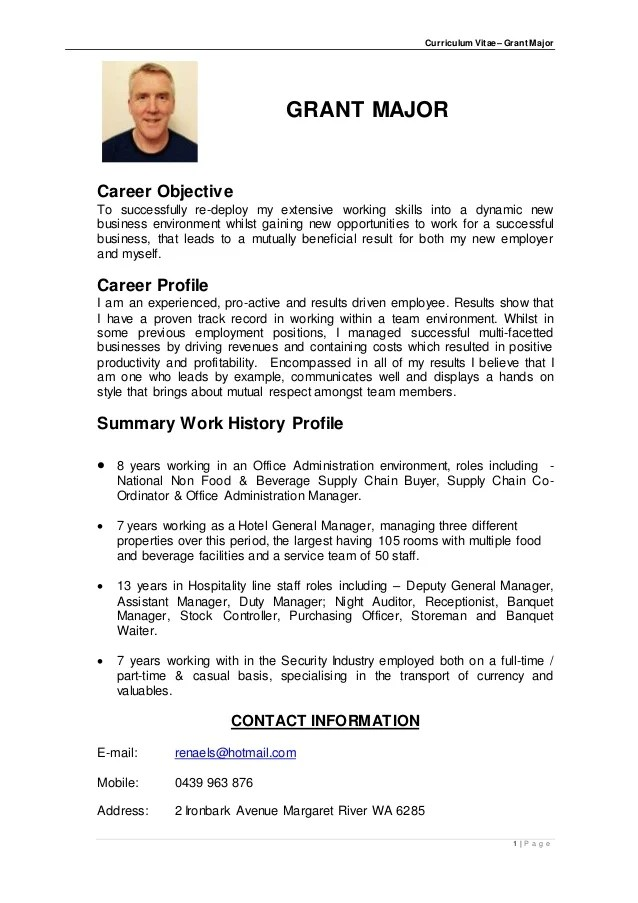 Curriculum Vitae English Example Student Examples Of Good And Bad Cvs University Of Kent Cv Grant Robert Major Aug 2015