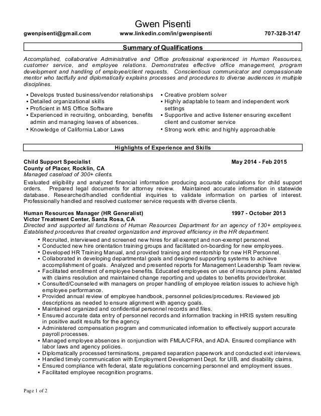 hr resume qualifications