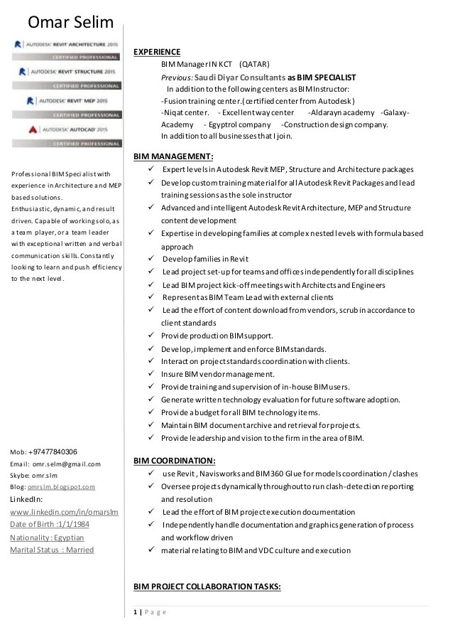 bim manager resume examples