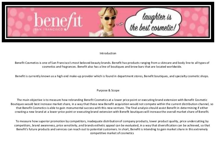 A Sample Research Proposal With Comments Benefit Cosmetics Sample Market Research Project