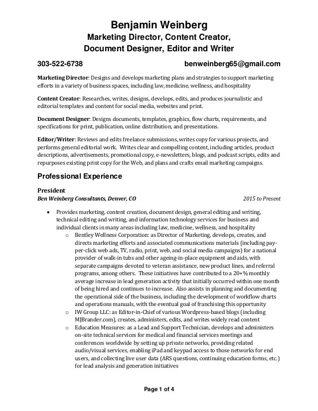 resume profile marketing