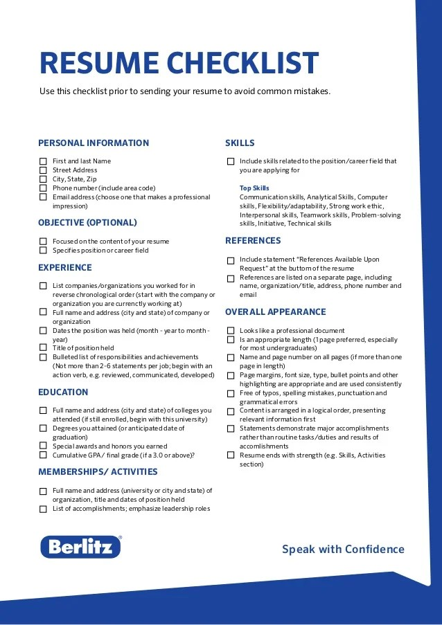 Resume Examples And Writing Tips The Balance Berlitz Tip Resume Checklist