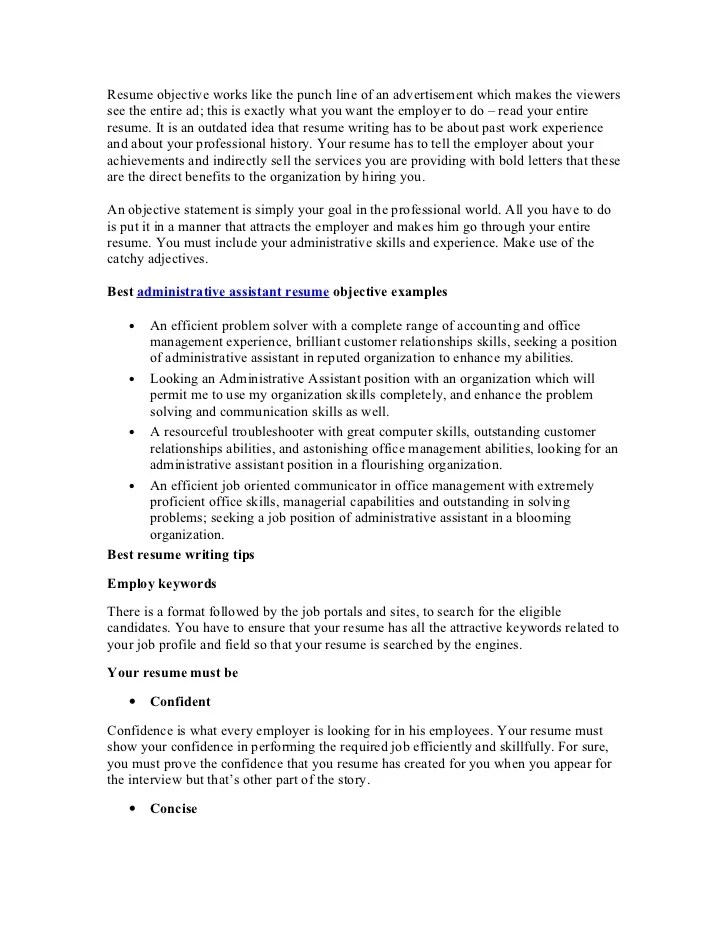 examples of administrative assistant resumes objectives