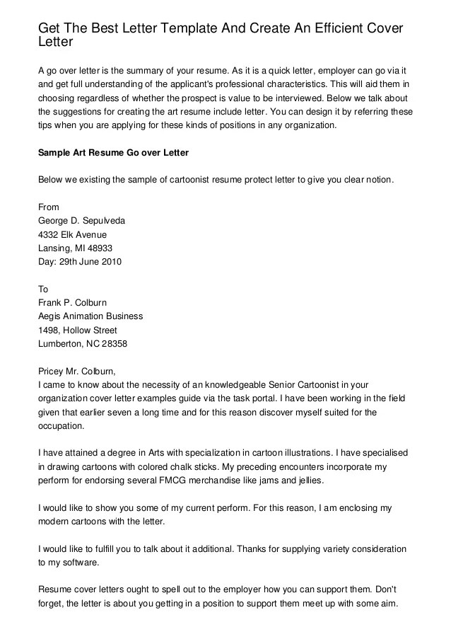 get the best letter template and create an efficient cover letter