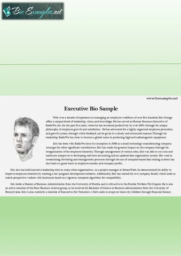 executive bio template - Ozilalmanoof - Company Bio Template