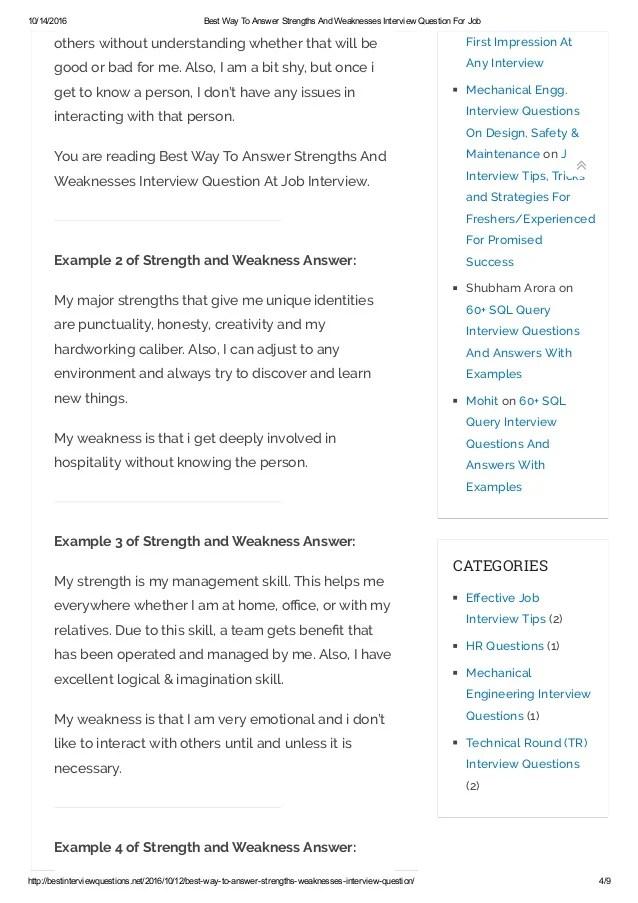 job interview strengths and weaknesses - Romeolandinez