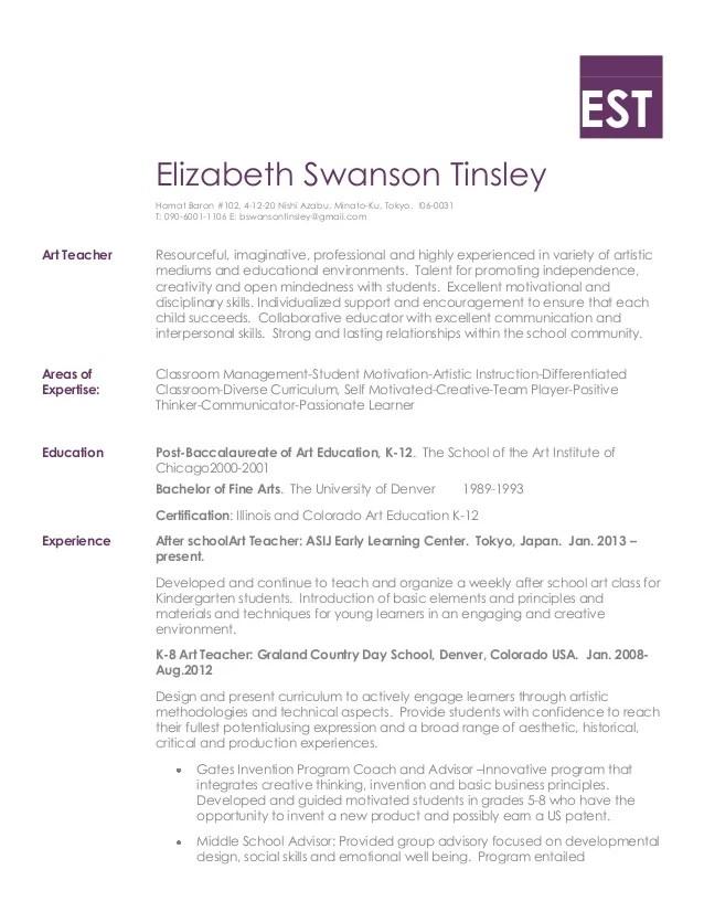resume for art teacher - Onwebioinnovate