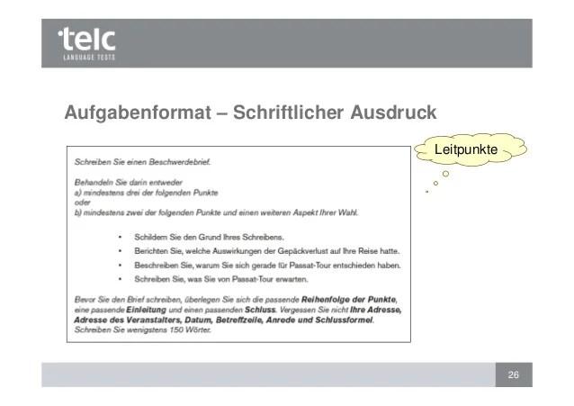 Bewertung Des Schriftlichen Ausdrucks Telc Deutsch B1 Und