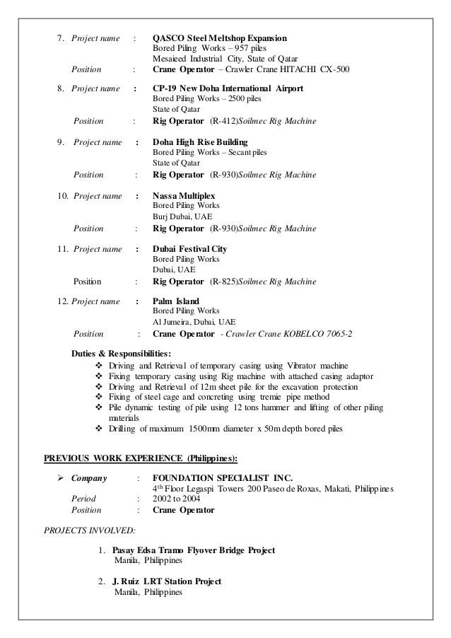 Attractive Crane Operator Resume Pictures - Resume Ideas - namanasa