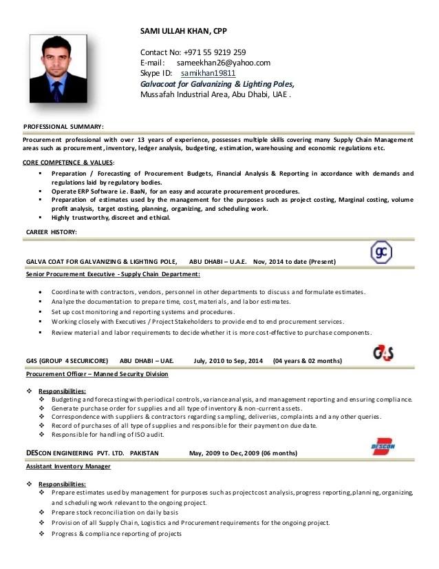 resume for purchase manager - Ozilalmanoof