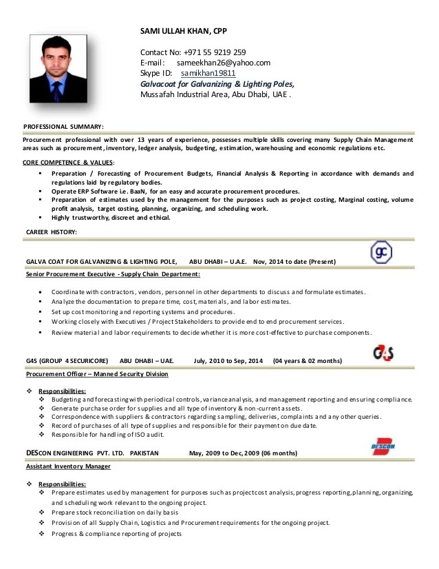 purchase officer resume format in word india