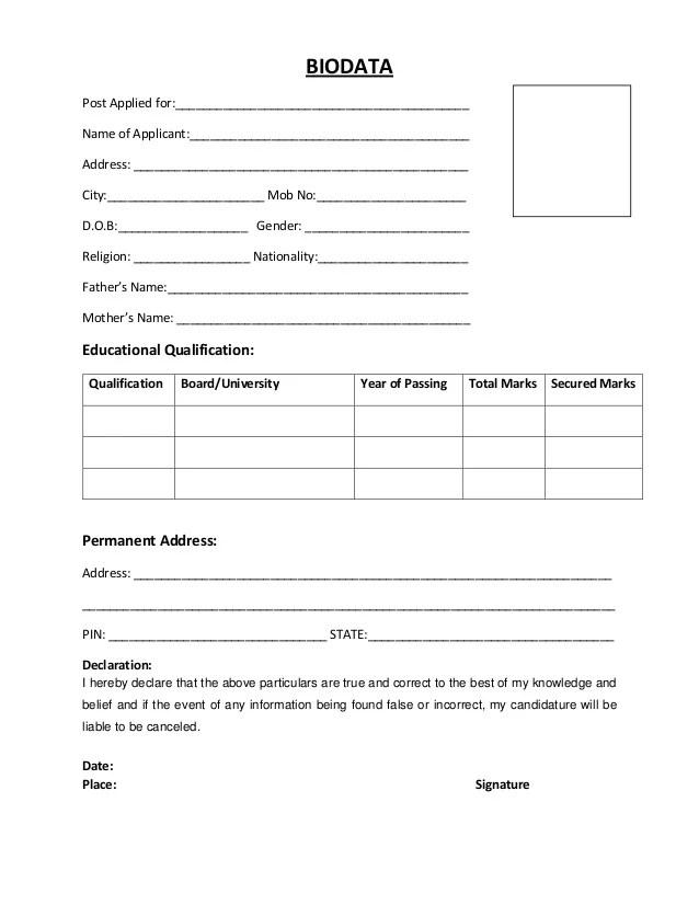 resume or bio data format
