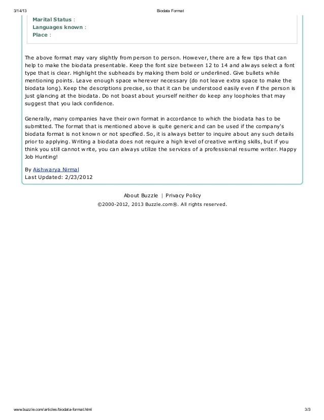 how to write biodata - Intoanysearch - how to write biodata