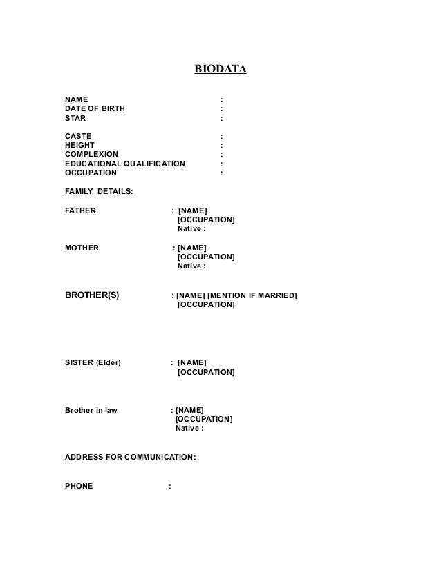 Biodata Format For Marriage Word Resume Pdf Download