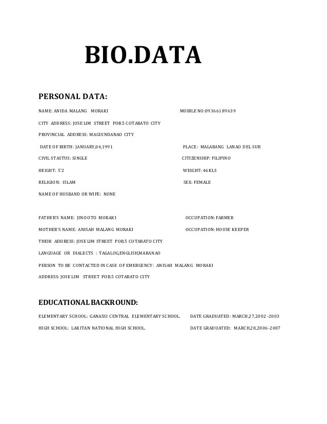 bio data images - Romeolandinez - bio data latest format