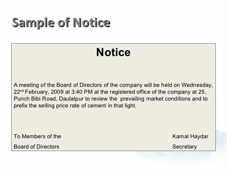 notice of meeting example - Towerssconstruction