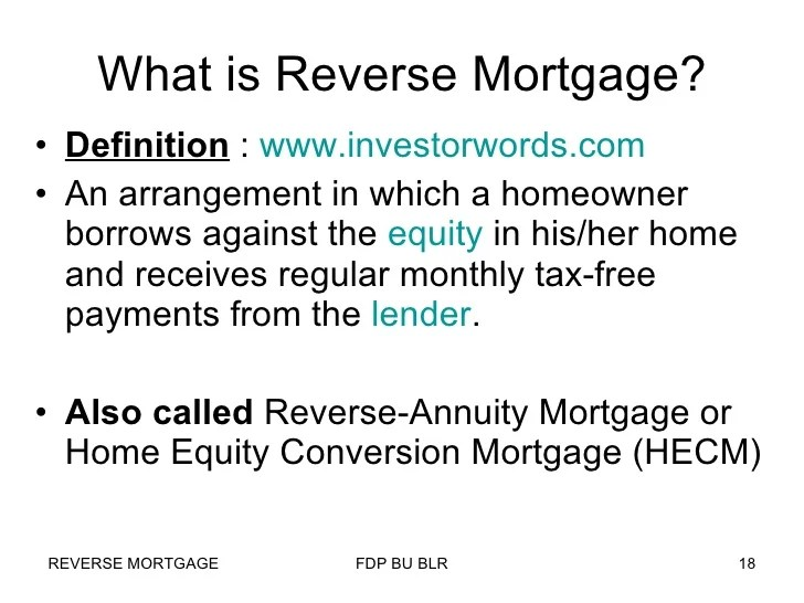 Reverse Mortgage in India