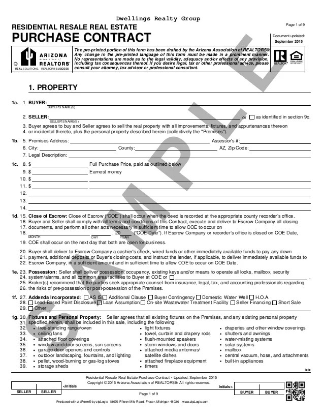 arizona real estate purchase contract pdf - Deanroutechoice - home purchase agreement