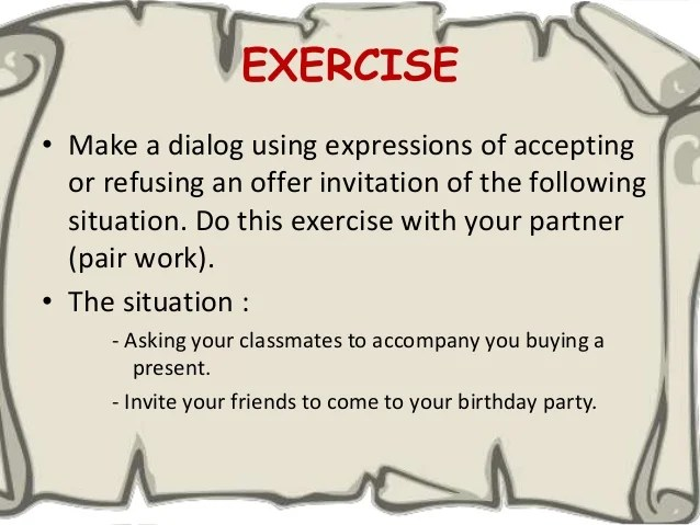 Declining invitation dialog invitationswedd speaking the expressions of accepting and declining an invitation stopboris Choice Image