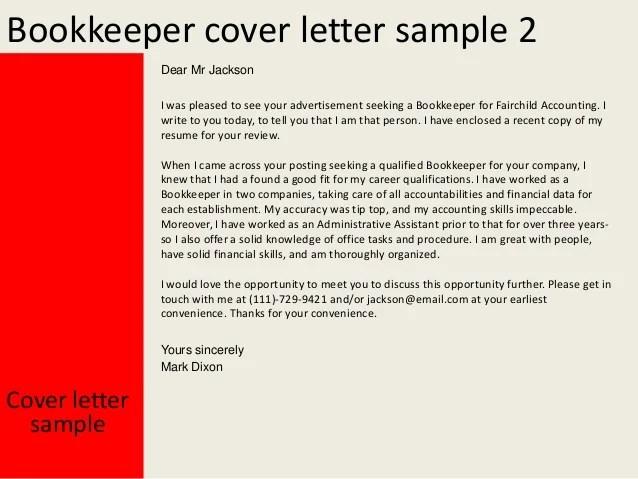 bookkeeper resume cover letter