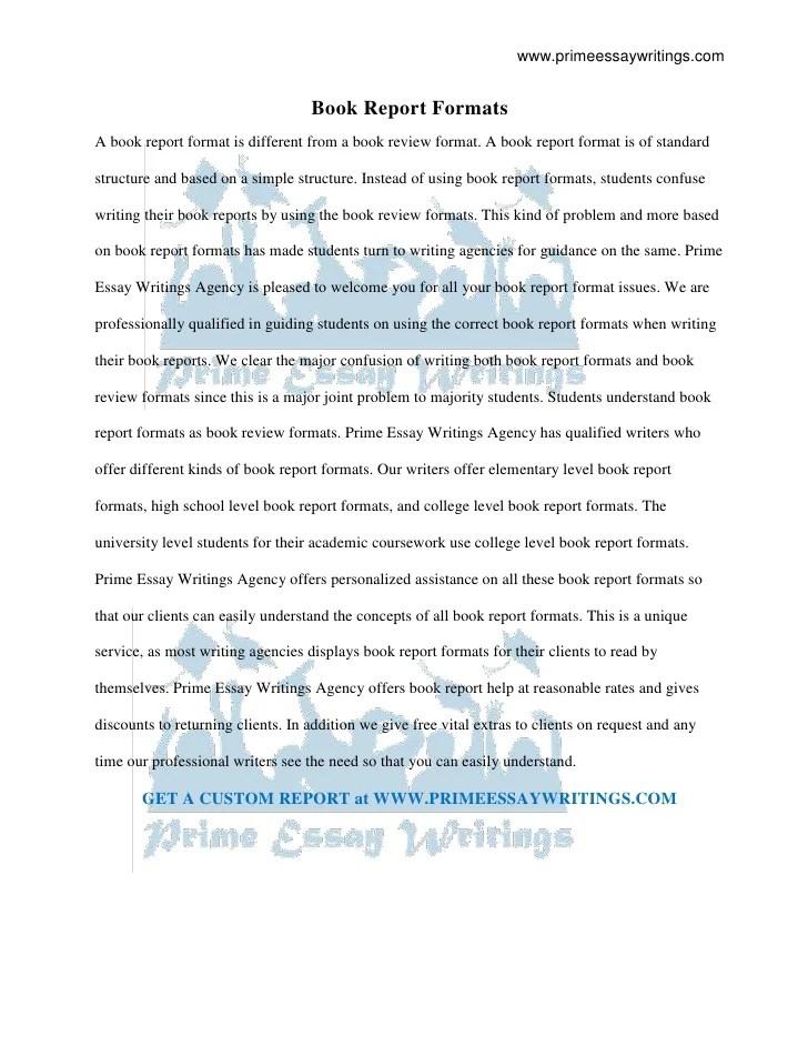 book report essay format