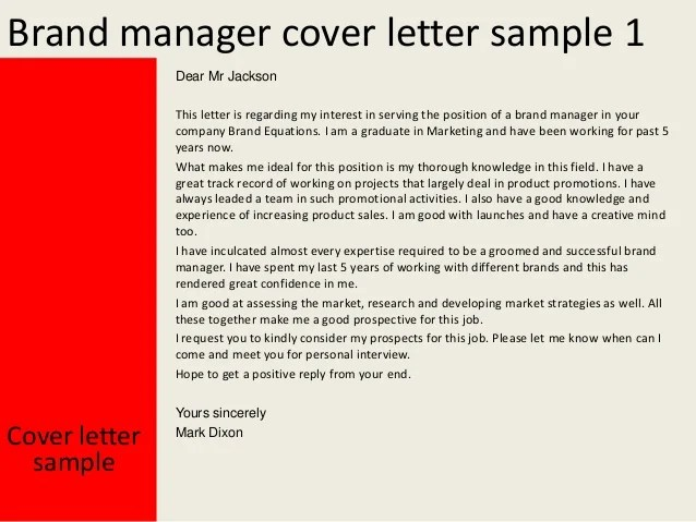 Cover Letter Samples For Resumes Job Interview Career Brand Manager Cover Letter