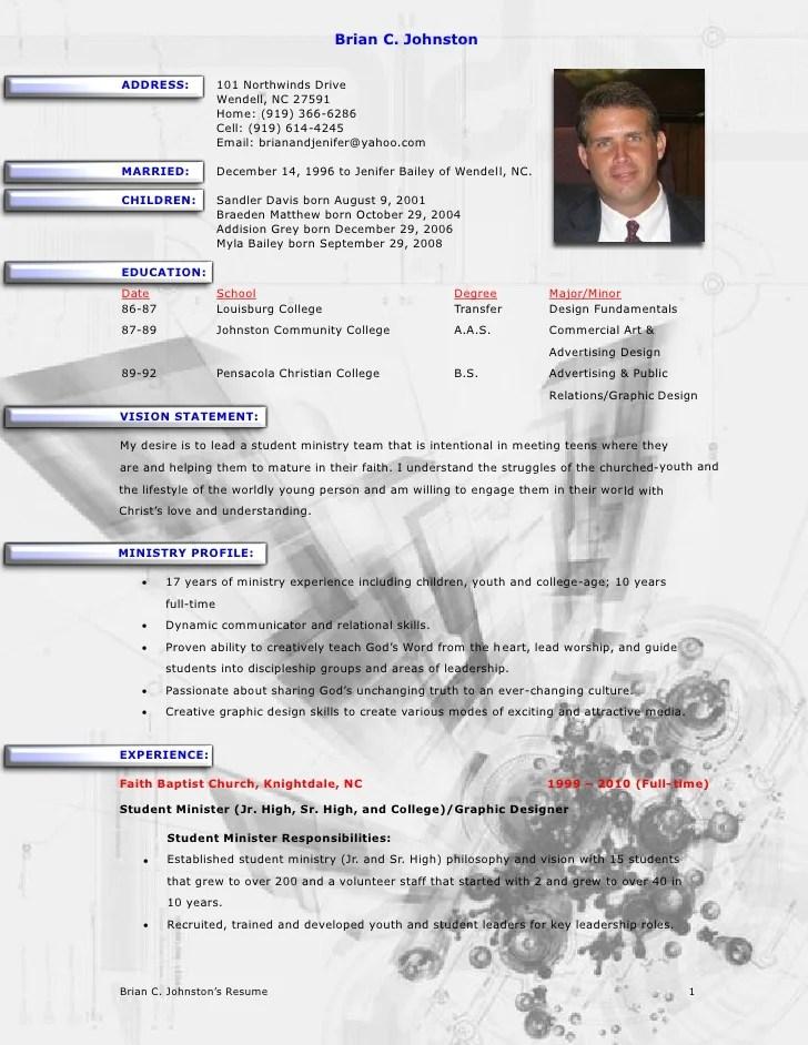 minister resume sample