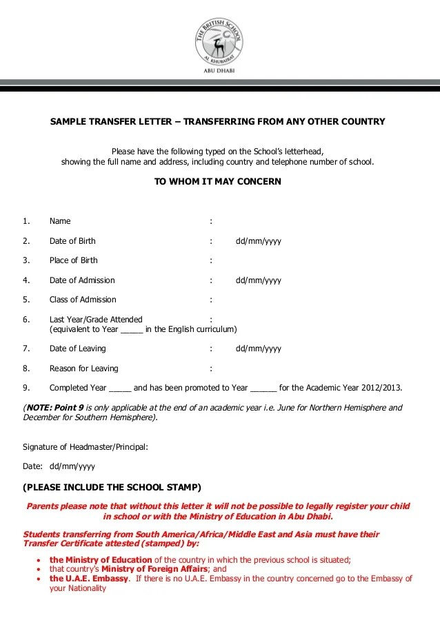 Sample letter to school for transfer certificate sample of sample letter to school for transfer certificate yadclub Images