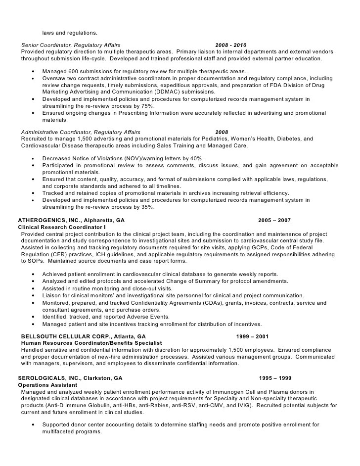 regulatory affairs resume sle regulatory affairs