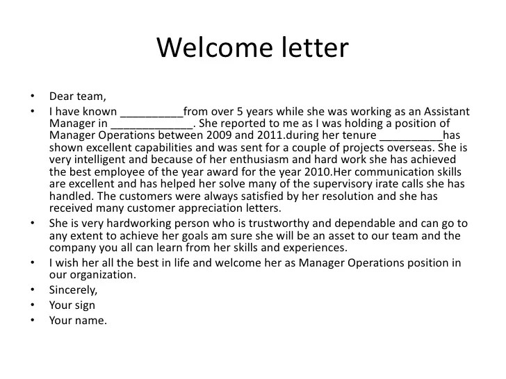 hotel welcome letter - Divingthexperience - sample welcome letter