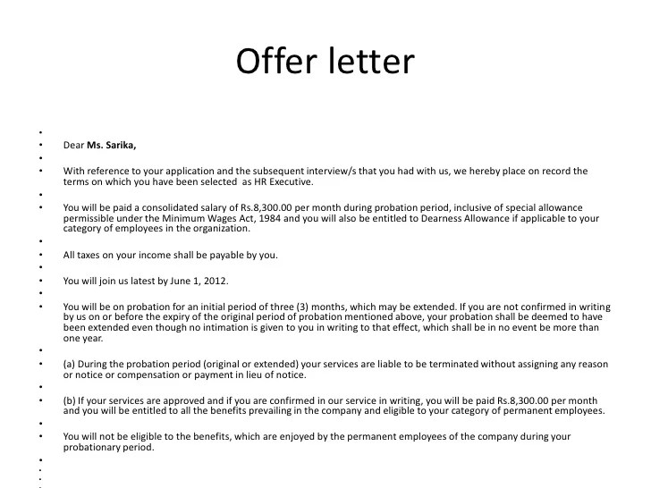 Job Offer Letter Sample For Employers The Balance Make Bsnsletters