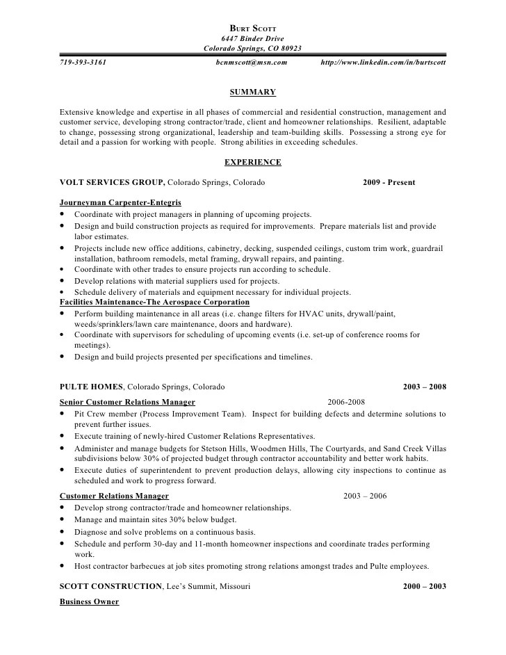 sample resume construction framer professional resumes example
