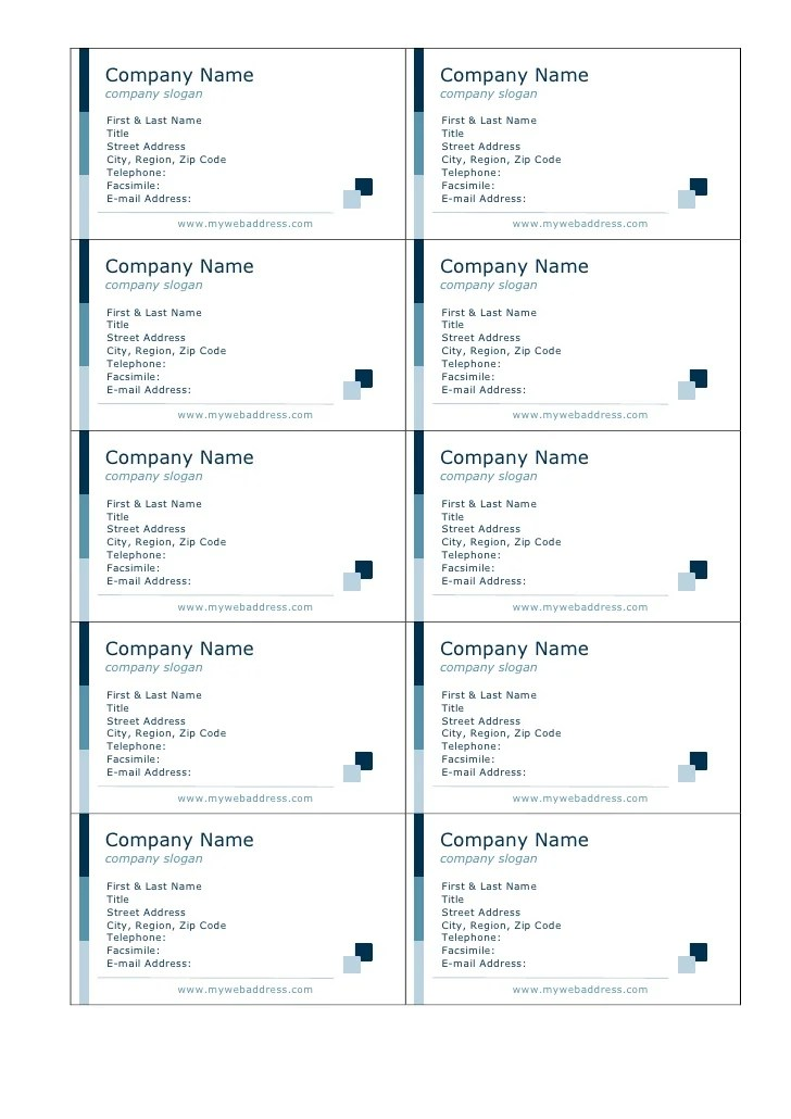 contact card template for word - Minimfagency - free card templates for word