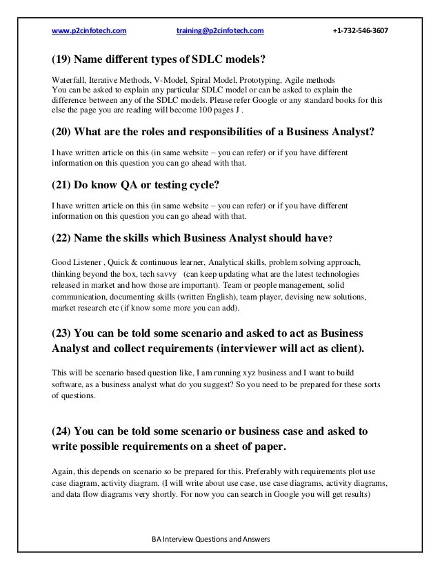 Business Analyst Interview Questions And Answers Pdf Business Analysis Interview Question And Answers