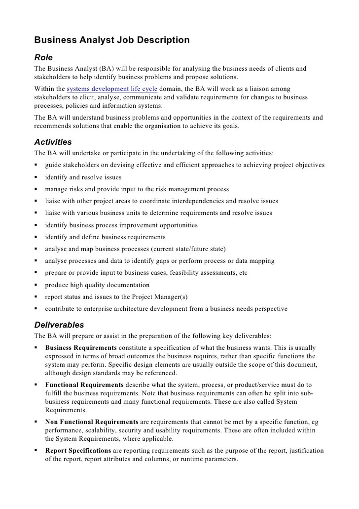 Requirements Analyst Cover Letter. Sample Business Analyst Resume ...