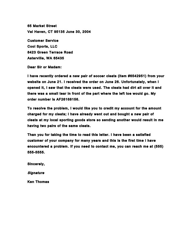 Complaint Business Letter  Cover Letter Sample